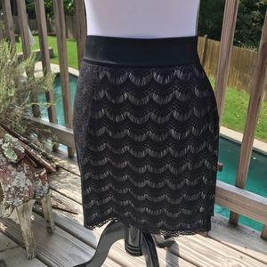 FREE PEOPLE Black Lace Mini Skirt